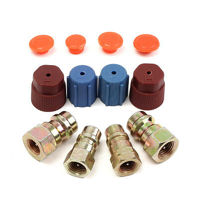 A/C R-12 to R-134a High Low Retrofit Conversion Adapter Valves Kit For 3/8 7/16