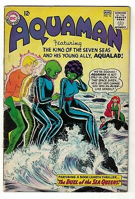 DC Comics AQUAMAN Vol 1 No 16  SILVER AGE justice league 5.5 FN- 1964