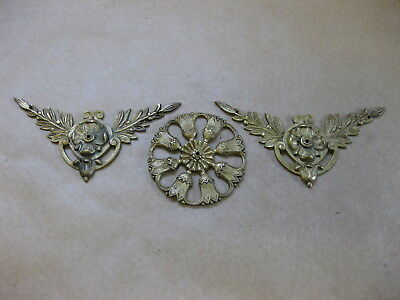Antique Brass Decoration / Ornamentation for Clocks ~  Spandrels & Roundel