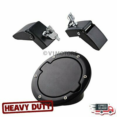 Metal Aluminum Hood Latch Lock w/ Keys + Gas Door Cap Cover for Jeep Wrangler JK