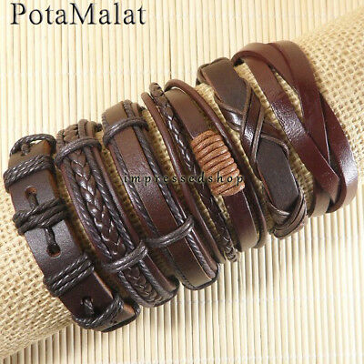 PotaMalat Handmade 6pcs Brown Genuine Leather Multilayer Bracelet For Men-D40