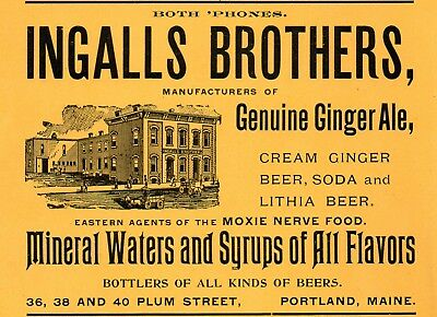 1905 Ingalls Brothers, Portland, Maine Ginger Ale & Lithia Beer Color Ad