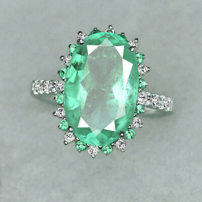 8.7CT 100% Natural 14K Gold Muzo Colombian Emerald Diamond Ring CKG80