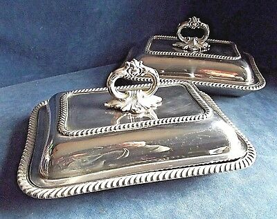 "SUPERB Pair 12"" ~ SILVER Plated ~ SERVING DISHES ~ c1900"