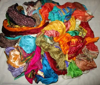 AU LOT PURE SILK Antique Vintage Sari REMNANT Fabrics 100 GRAMS CRAFT DOLL QUILT