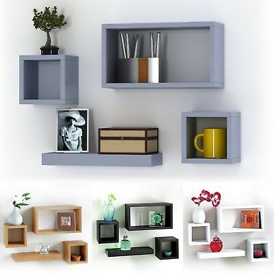 Set Of 4 Wooden Floating Cube Shelves Wall Hanging Storage Display Deco Shelving
