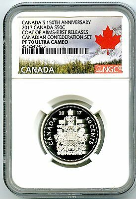 2017 Canada 150Th Annv 50 Cent Ngc Pf70 Fr Silver Proof Coat Of Arms Half Dollar