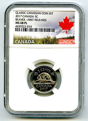 2017 Canada 5 Cent Classic Nickel Ngc Ms68 Pl First Releases Rare