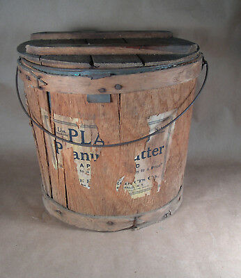 Early 1906 PLANTER'S PEANUTS  Wooden Bucket / Pail with Label Tin insert