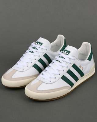 adidas Jeans Trainers in White & Green leather & suede, gum sole, retro classic