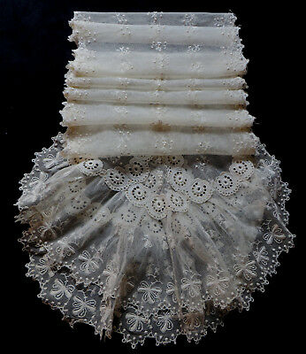 "Beautiful Very Long Antique Lace Bridal Veil /Stole /Scarf 90""(228cm) Vintage"