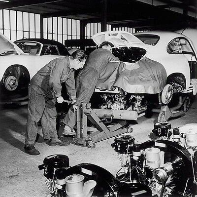 Early 1950s Porsche factory engine being installed  8 x 8  Photograph