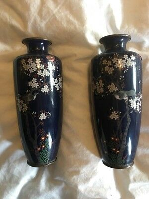 Mirror Pair of Japanese Cloisonne Vases AF