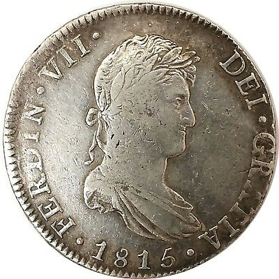 1815 JJ Mexico City Ferdinand VII 8 Reales Silver Coin Circulated No Reserve