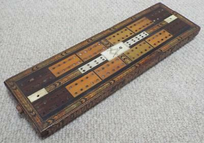 Tunbridge Ware Masonic Cribbage Board - Antique Victorian c1870 - Freemason