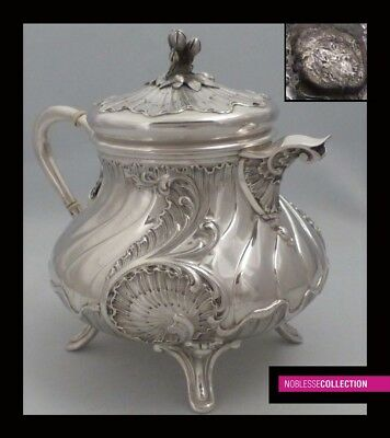 LARGE ANTIQUE 1860s FRENCH ALL STERLING SILVER COFFEE/TEA POT Rococo st. 24.9 oz