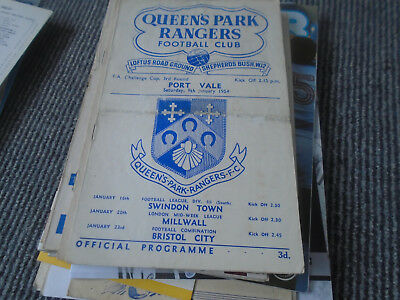 Queens Park Rangers V Port Vale 1953-4 Fa Cup 3Rd Round X 2 Issues