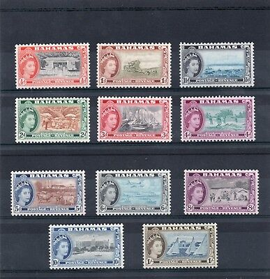 Bahamas QE2 1954-63 set to 1s sg 201-11 all but 1/2d VLH.Mint