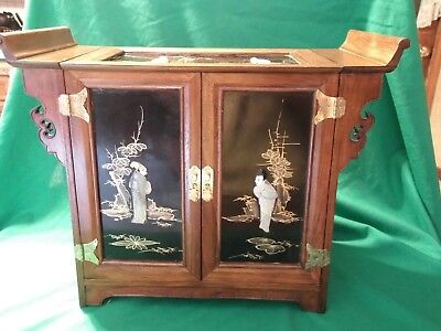 Large Beautiful Wood Jewelry Chinese Mother of Pearl Vintage - 3 Drawers