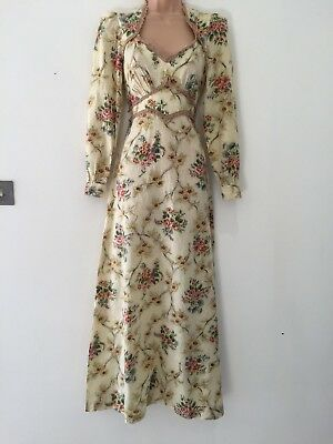 Vintage 70's Cream Pink & Green Floral Print Lace Trim Boho Hippy Maxi Dress 8