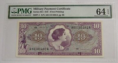Series 651 - $10 - Military Payment Certificate MPC - PMG Choice UNC 64 EPQ