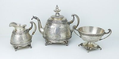 Antique Austrian ~Sterling Silver~ Neoclassical Figural Griffin Footed Tea Set