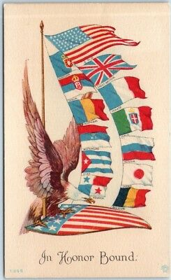 "1910s World War I Patriotic / Propaganda Postcard ""In Honor Bound"" Allies' Flags"