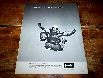 """FENDER elec GUITARS ( """"you won't part with your's either"""" ) 1965 SKYDIVER Ad NM-"""