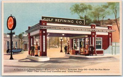 Vintage Advertising Postcard GULF REFINING CO. Oil Gas Station c1940s Unused