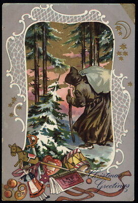 Early 20th c. bent Santa in brown w/stick & sack gold-foil color TUCK post card