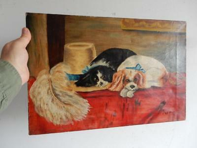REALLY old PAINTING oil dog dogs best friends signed
