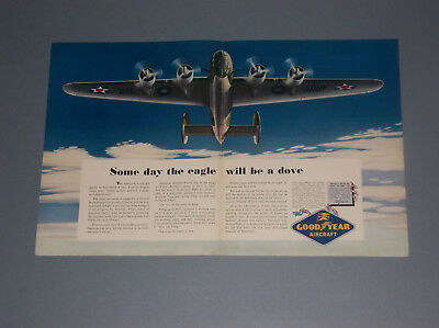 2 1942 Goodyear Aircraft Tires 2-Page Ads Airplanes And Blimp Wwii Era Ads