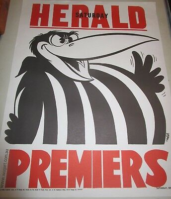 1958 Collingwood FC : VFL Premiers : Official Weg Premiership Poster unframed