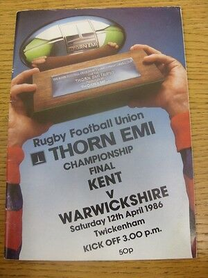 12/04/1986 Rugby Union Programme: County Championship Final, Kent v Warwickshire