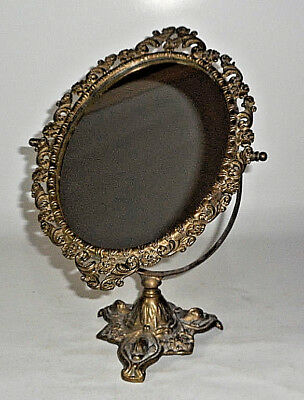 "Antique Solid Brass Ornate Dressing Table Vanity Mirror 14"" Tall Excellent"