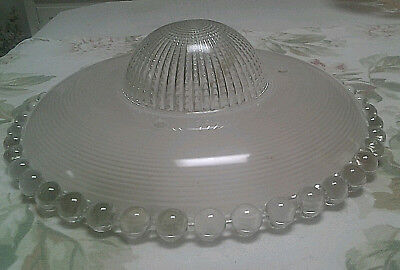 Antique Candlewick Frosted Glass Shade for 3 Chain Vintage Ceiling Light Fixture