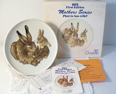 Vintage Goebel Mothers Series 1st Edition Plate~1975 Rabbit w/2 Babies~MIB