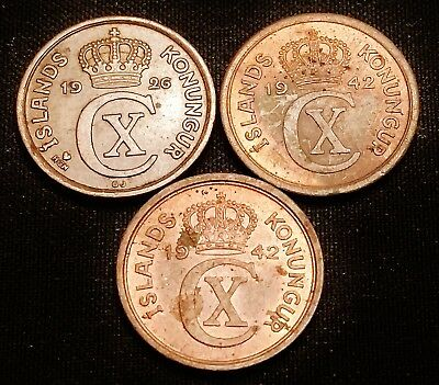 1926, 1942 & 1942 Iceland 1 Eyrir Coins - Nice Looking Coins