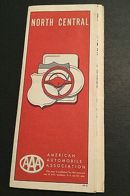 Vtg AAA AUTO CLUB North Central STATES USA HIGHWAY ROAD MAP 1960s VINTAGE TRAVEL