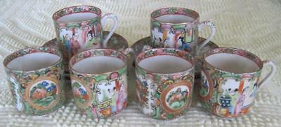 Circa 1920 's Set of Six Chinese Export Rose Medallion Demitasse Cups/Saucers