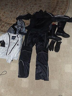 FIELDSHEER ARMORED MOTORCYCLE SUIT with BOOTS,GLOVES, LINERS   Woman's L  EUC