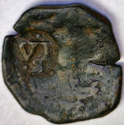 """PIRATE Era 1600's Spanish Colonial Treasure Coin """" VI """" Stamped On Front NO RES."""