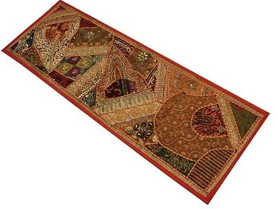 "60"" Vintage Indian Home Décor Art Sari Beaded Kundan Moti Wall Hanging Tapestry"