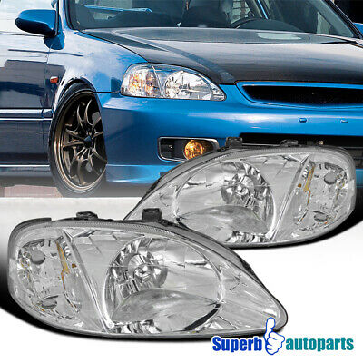 For 1999-2000 Honda Civic EK EX LX Si JDM Headlights Head Lamps Clear