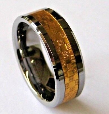GENESIS DESIGNS: MEN'S 18K GOLD INLAY GENUINE TUNGSTEN RING - Australian seller