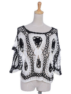 Ali-Market S/M Fit Women Casual White Black Hollow Knitted Crop Top Blouse