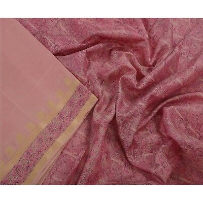 Sanskriti Antique Vintage Pink Saree 100% Pure Silk Printed Sari Craft Fabric