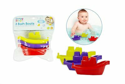 Pack of 3 Baby Bath Boat Toys Bathtime Play Plastic Floating Fun Water Game