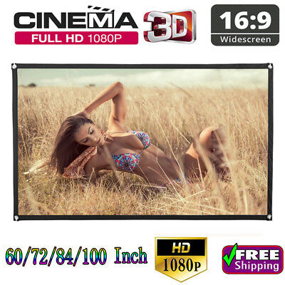 60''/72''/84''/100''/120'' Projector Screen 16:9 Home Cinema Theater Projection