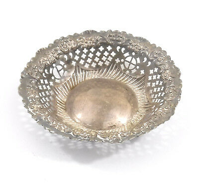 Ornate Victorian Sterling Silver Bowl Pierced Repousse : Chester Hallmark 1897